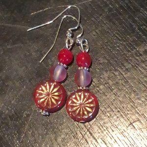🍒red Czech glass earrings